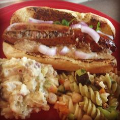 Grilled Basil Cracked Pepper Chicken Sausage on Hoagie Roll with Ground Mustard Horseradish and Red Onions with Potato and Pasta Salads