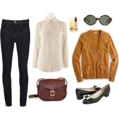 j brand maria high rise skinny jeans  equipment silk blouses  j. crew cashmere boyfriend cardigans  salvatore ferragamo vara flats  the j.w. hulme mini legacy bag (also interchangeable with any of the coach classics)  my trusty ysl rouge pur couture lipstick in le rouge  karen walker sunglasses (currently pretty in love with the number six shades)
