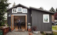 garage house. This is really nicely done. It even has a bathtub and fireplace. I love the recycled materials.