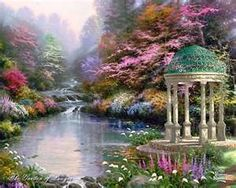 Garden of Prayer by Thomas Kinkade! I have this personally and I love it. Thomas was such a God Gifted Painter, there will never be another artist like Thomas Kinkade! Wall Canvas, Canvas Prints, Wall Art, Painting Prints, Art Print, Mural Painting, Canvas Size, Wall Decor, Belle Image Nature