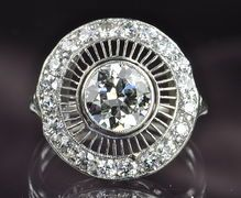 2.23 Carat Old European Cut Diamond and Platinum Ring. WOW