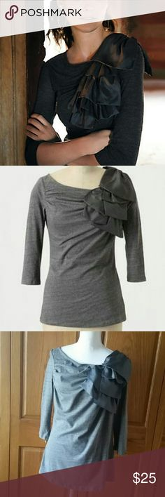 """ANTHROPOLOGIE Volante Gray Ruffle Satin Top ANTHROPOLOGIE Volante Gray Ruffle Satin Top by Deletta, size large. Bust measures 20"""" across flat, length is 25.5"""". Plenty of stretch. 100% cotton. Ruffle now extends to back shoulder. Excellent condition. Anthropologie Tops Blouses"""