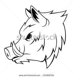 Outline Wild Boar Tattoo Design