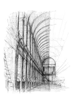 Trinity College Library, Dublin, Ireland 2018 (Sketchbook Series) Drawn on location in Pen & Ink Print size - Limited Edition run of signed and numbered. Pen Sketch, Art Sketches, Library Drawing, Trinity College Dublin, College Library, Black And White Sketches, A Level Art, Urban Sketchers, Limited Edition Prints