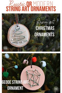DIY Christmas Ornaments. String Art Ornaments. Rustic or Modern Geode! Awesome and Easy!! www.eastcoastcreativeblog.com #Christmas #DIYChristmas #Mykindofholiday