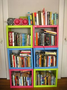 Bookshelves made from set of old encyclopedias. I probably wouldn't paint them solid though. Creative Bookshelves, Bookshelves Kids, Bookshelf Design, Bookcases, Bookshelf Ideas, Old Encyclopedias, Cube Shelves, Book Shelves, Diy Back To School