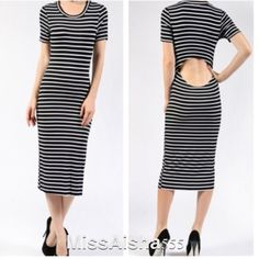 Striped midi dress ONE HOUR SALE Short sleeve crew neck striped midi dress with open back detail great fitting dress PLEASE USE Poshmark new option you can purchase and it will give you the option to pick the size you want ( all sizes are available) BUNDLE And SAVE 10% ( sizes updated daily ) Dresses Midi