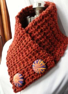 Paprika Neckwarmer Scarf with Quilted Cotton Buttons, crocheted Neck Warmer, Ready To Ship on Etsy, $36.42