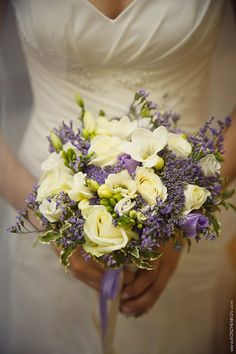 Bridal Bouquet Rose White, trahelium violet, freesia  white, white and purple Eustoma, limonium, greens