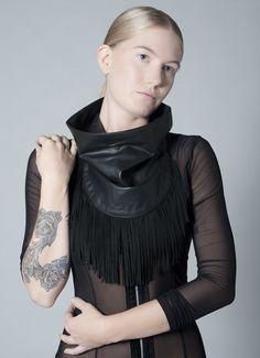 Provethemallwrong leather scarf w/fringe