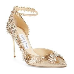 """Jimmy Choo 'Lorelai' Floral Embellished Ankle Strap Pump, 4 1/4"""" heel ($1,495) ❤ liked on Polyvore featuring shoes, pumps, heels, sapatos, nude fabric, pointed toe d orsay pumps, jimmy choo shoes, jimmy choo pumps, ankle strap pumps and nude shoes"""