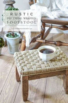 This rustic ottoman for the living room was made using jute twine.  It is a simple and fast DIY project.