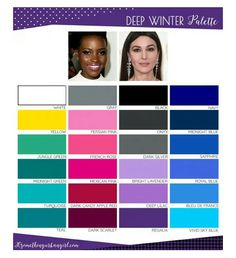 New Skin Color Types Deep Winter Ideas Deep Winter Palette, Deep Winter Colors, Deep Autumn, Clear Winter, Dark Winter, Color Me Beautiful, Yellow Skin Tone, Winter Typ, Touch Of Gray