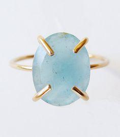 Aquamarine Oval Gold Ring OOAK by friedasophie on Etsy