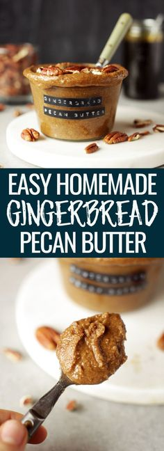 Easy homemade gingerbread pecan butter! 6-ingredients, ready in under 20-minutes, creamy, flavorful & decadent. Not to mention perfect for the holidays! Nutritionalfoodie.com