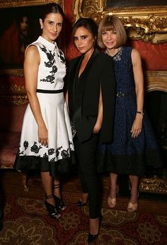 Lovely ladies Livia Firth, Victoria Beckham and Anna Wintour, leaders in style and sustainability. Attending the Green Carpet Challenge with NET-A-PORTER capsule collection launch event.