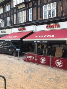 Costa Coffee Bromley have had two nice new recovers for their canopies! Supplied & installed by Shades of Comfort Ltd Awning Shade, Costa Coffee, Canopies, Shades, Restaurant, Sign, Board, Outdoor, Outdoors