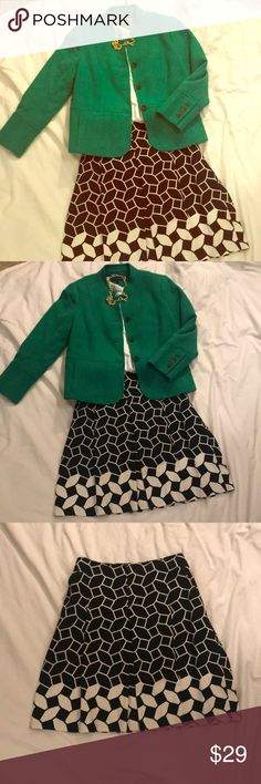 Talbots size 14 black and white flared skirt Talbots black and white skirt. Super flattering. Like new. Has bickers and pleat detail down the front. Fully lined. This is a keeper. Talbots Skirts Midi