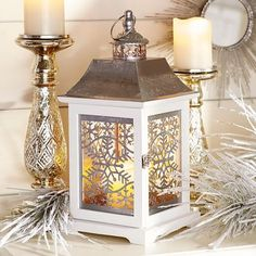 Christmas Snowflake Lantern - White - Home Decor Candle Ideas