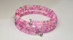 Pink memory wire bracelet by KalsJewelry on Etsy https://www.etsy.com/listing/256900282/pink-memory-wire-bracelet