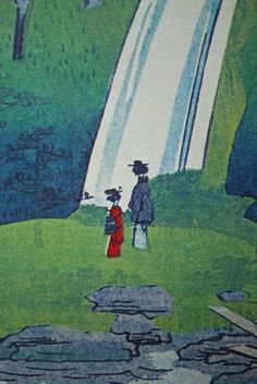 Ukiyoe Woodblock Print - Women in Kimono Enjoying Cherry Blossoms and Waterfall