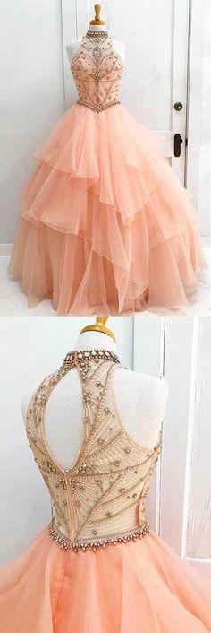 charming high neck prom dress ruffle beading wedding dress ball gown evening dress sleeveless cocktaildress,HS031  #moddress #promdress #eveningdresses #prom #fashion #shopping #dresses