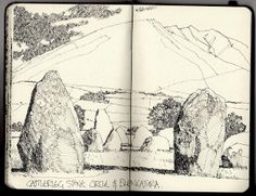 Ian Sidaway Fine Line: Castlerigg, Buttermere and Kelly Hall Tarn. Ink Illustrations, Illustration Sketches, Drawing Sketches, Sketchbook Pages, Moleskine Sketchbook, Sketchbook Drawings, Notebook Art, Landscape Drawings, Sketchbook Inspiration