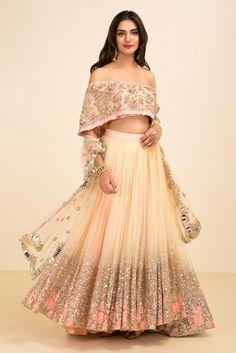 THE STYLE LOFT BY RITU DEORA peach bardot style lehenga #flyrobe #wedding #weddingoutfit #designeroutfit #designerwear #bride #indianwedding #designerlehenga