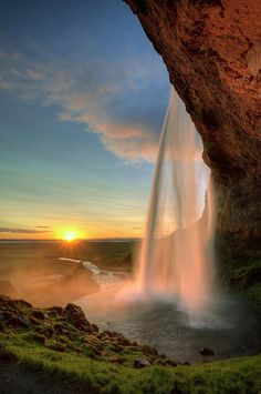 Seljalandsfoss Waterfall, Iceland. This is absolutely breathtaking! In Iceland of all places! I definitely want to go to Iceland!