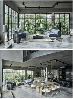 Showroom Interior Design, Industrial Interior Design, Furniture Showroom, Tropical Design, Tropical Garden, Vernacular Architecture, Interior Architecture, Passive Design, Restaurant Seating
