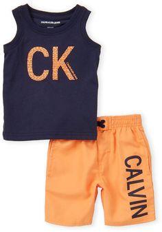 ea47672c757ef Calvin Klein Jeans Infant Boys) Two-Piece Print Logo Tank & Swim Shorts Set