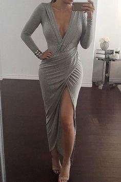Plunging Neck Cross High Split Long Sleeve Dress