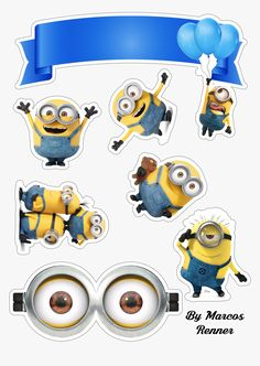 Minion Cupcake Toppers, Minion Cupcakes, Birthday Cake Toppers, Birthday Cakes, Minions Birthday Theme, Minion Theme, Baby Birthday, Geek Birthday, Minion Stickers