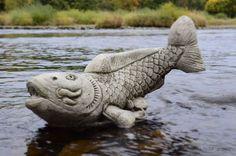 OTTER PAIR Hand Cast Stone Garden Ornament Statue Sculpture Animal ⧫onefold-uk