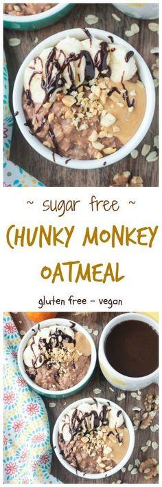 Chunky Monkey Sugar Free Oatmeal - vegan   gluten free   dairy free   oil free   egg free   sugar free   refined sugar free   breakfast   brunch   walnuts   bananas   healthy   quick and easy