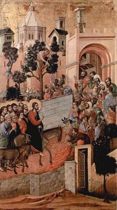 Entry into Jerusalem Notes:Panel from the Maesta Altarpiece of Siena Date:1308-1311 Artist:Duccio, di Buoninsegna, d. 1319 Building:Museo dell'Opera del Duomo (Siena, Italy) Object/Function:Altarpiece City/Town:Siena Country:Italy