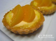 蜜桃吉士撻 【明媚動人甜品】 Peach Custard Tarts from 簡易食譜