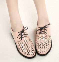 Laser Cut Lace Up Women Flat Shoes on BuyTrends.com, only price $22.92