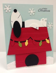 Snoopy Christmas Punch ART Stampin' UP Card KIT 5 Cards | eBay