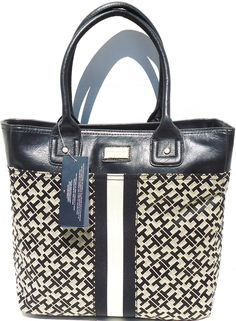 "Tommy Hilfiger Large TOTE Handbag Black Jacquard. Black-Taupe [TOMMY HILFIGER] Shoulder Tote Travel Carry-On Bag. W-5"" X H-12"" X D-14""/ handle 7"". Inside zipper pocket, two pouch pockets, outside pouch."