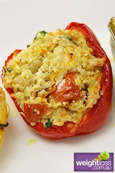 Healthy Lunch Recipes: Roasted Capsicum Stuffed with Quinoa Recipe. #HealthyRecipes #DietRecipes #WeightLoss #WeightlossRecipes weightloss.com.au