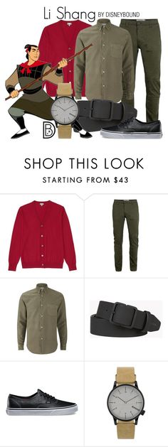 """""""Li Shang"""" by leslieakay ❤ liked on Polyvore featuring Uniqlo, Topman, Olivine, Dsquared2, Vans, Komono, men's fashion, menswear, disney and disneybound"""