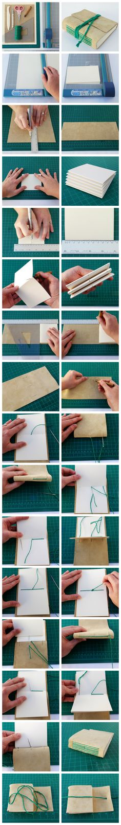 Encuadernado con puntada larga   -   Long-stitch tutorial by Erica Craft                                                                                                                                                     Más