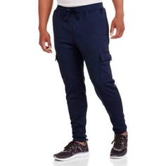 Big Men's Elastic Waist Solid Fleece Cargo Pant, Size: 4XL, Blue
