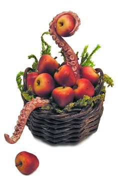 Dollhouse Miniature Basket of Apple Tentacles - Handmade 1:12 scale