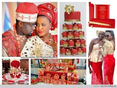 nigerian wedding red and gold color scheme for trad wedding-1