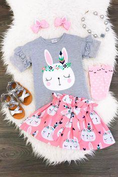 Pink & Gray Floral Bunny Skirt Set
