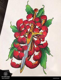 Dagger tattoo on sketch (on paper) new school by Maks Danilkov Japanese Girl Tattoo, Japanese Flower Tattoo, Japanese Flowers, Design Tattoo, Flower Tattoo Designs, Flower Tattoos, Crisantemo Tattoo, Mago Tattoo, Tiger Face Tattoo