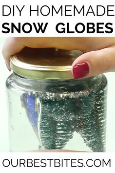 DIY Snow globes are magical, whimsical, and fun.  And they're super easy to make at home. Great kids activity! #OurBestBites #DIYSnowGlobe #KidsActivities #KidsCrafts #KidCraftIdeas #HomemadeSnowGlobe