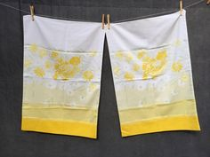 60's Burlington House Gradient Daisy Floral Pillowcases - x2 Standard Size Yellow and White by ElkHugsVintage on Etsy